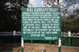 A picture that explains the reason behind the name of Elephant Falls in Shillong