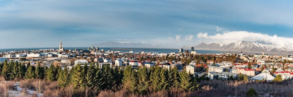 Panoramic view of Reykjavik in Iceland