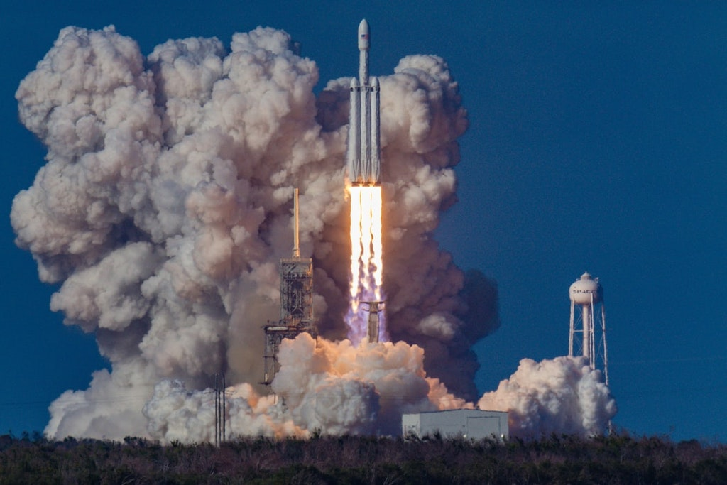 The first launch of the SpaceX Falcon Heavy rocket at Kennedy Space Center, United States.