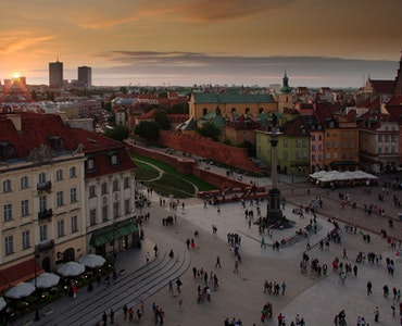 Sunset in Warsaw city