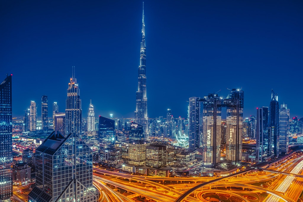 A beautiful view of the city of Dubai in night