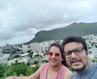 selfie at natural backdrop of Mauritius