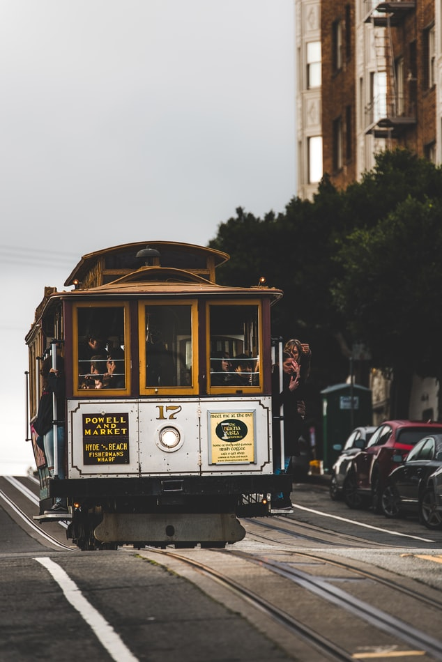 Cable car in Californian street