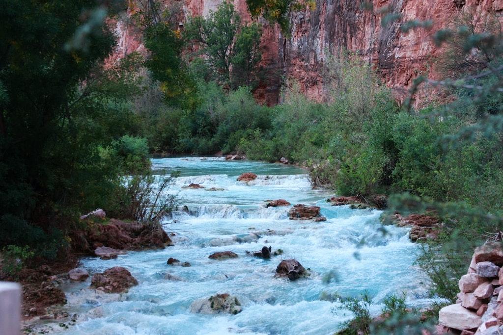 water descending down rocks