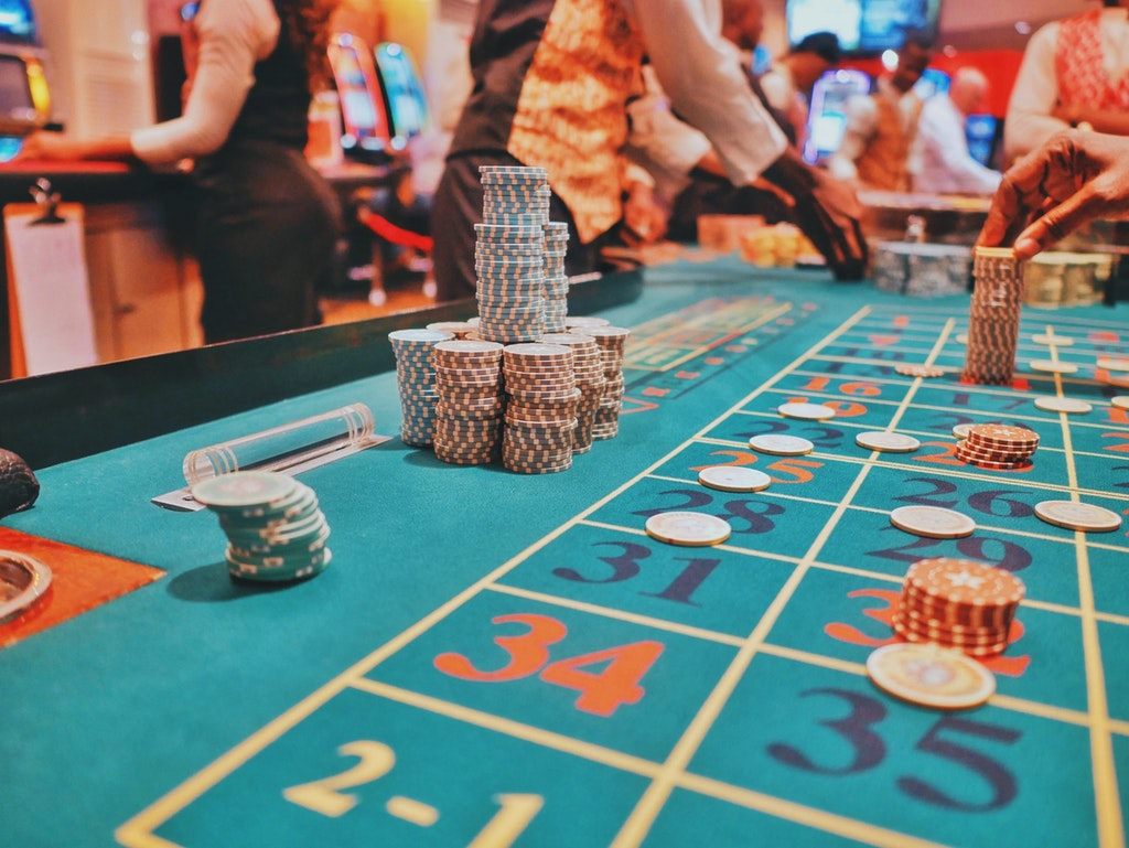 A casino game in action