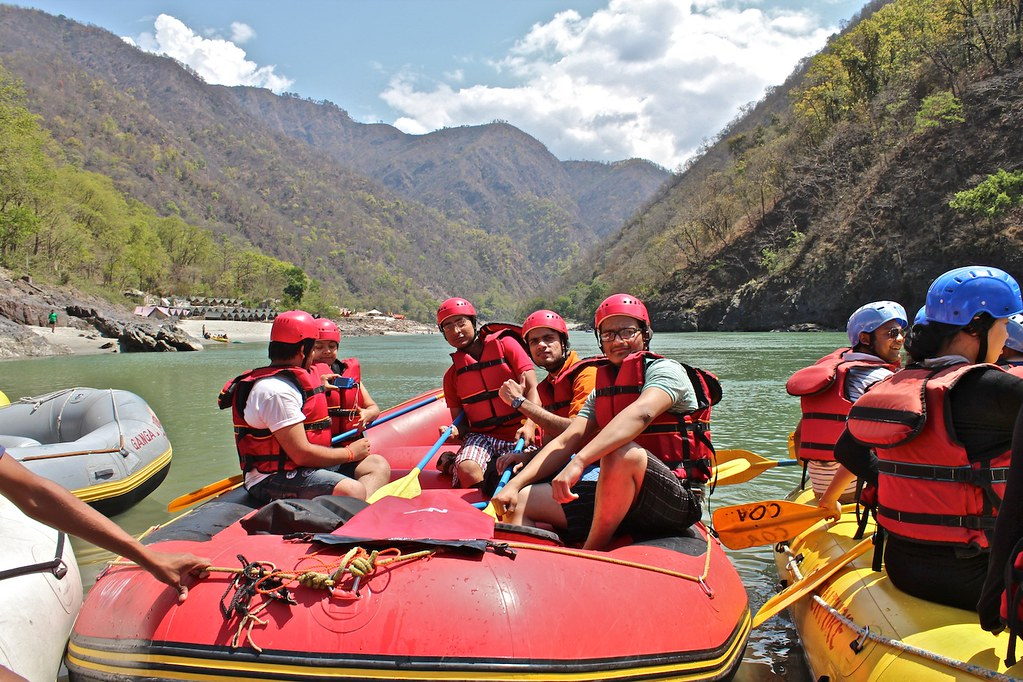 a group ready for river rafting