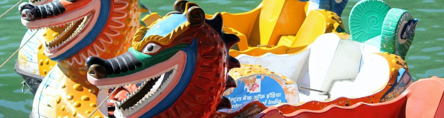 Dragon boats at the water parks in Delhi
