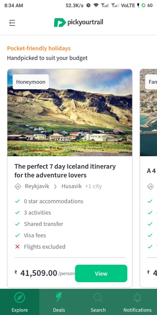 Itinerary suggestions in Pickyourtrail app