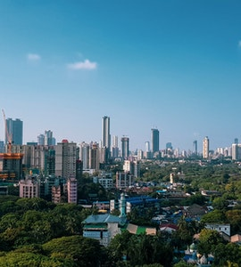 a wide shot of the city of Mumbai