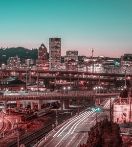 busy city and attractions in Portland
