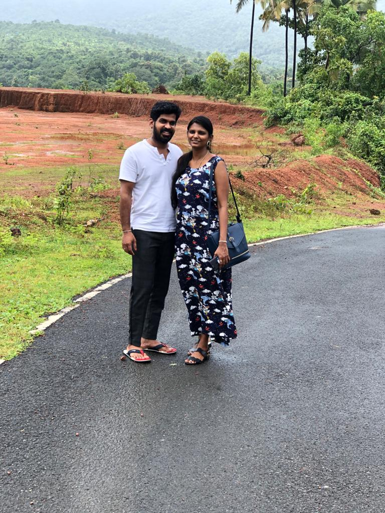 a picture with my husband during our staycation to Goa