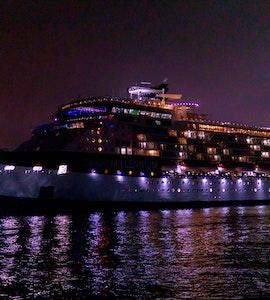 A cruise ship at night
