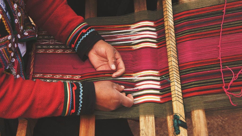 Weaving art at the Craft village.