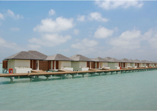 Water villas at the resort