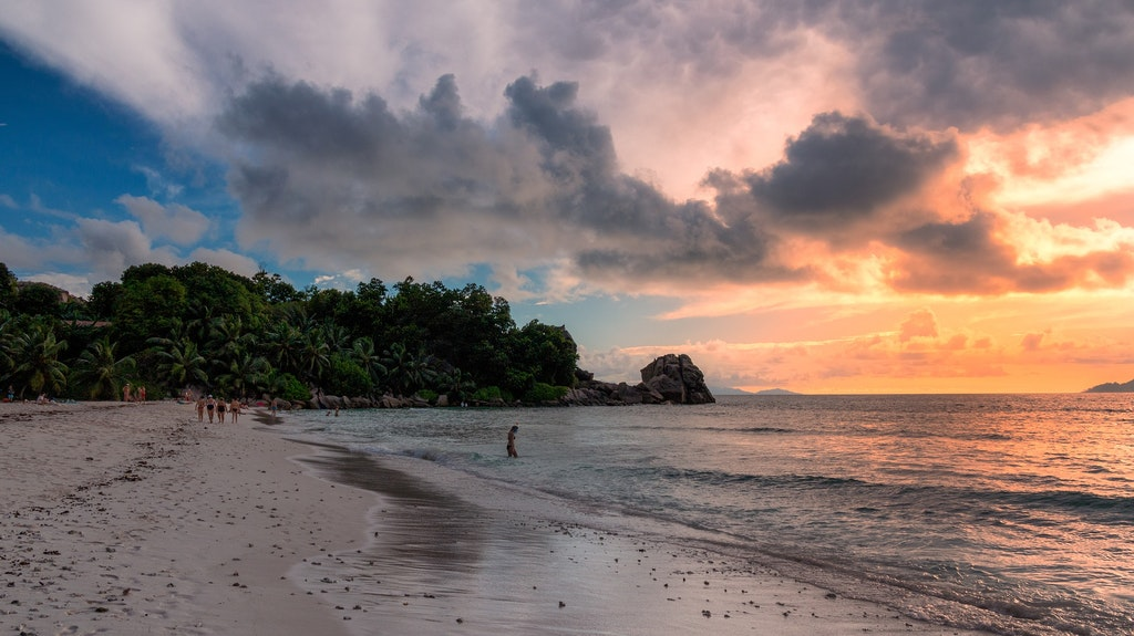 Sunset at the Sunset rock in Seychelles.