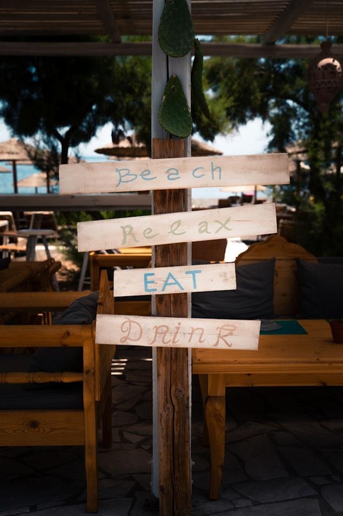 a board in a bar