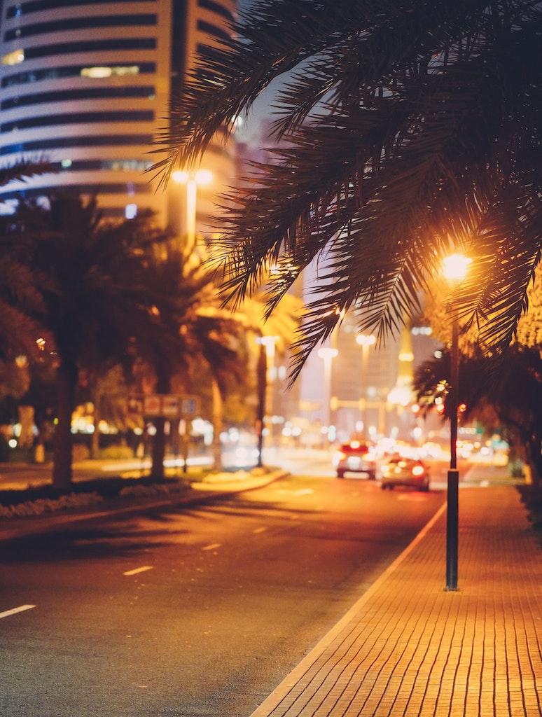 Roads in night in Dubai