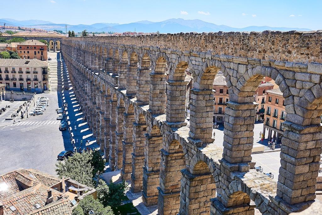 Segovia aqueduct, one of the UNESCO sites to visit in Spain.
