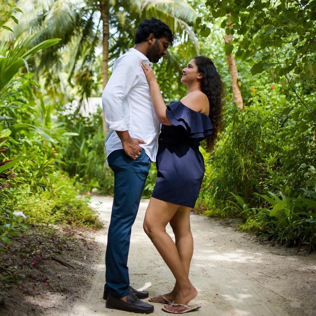 A couple on a Maldives vacation