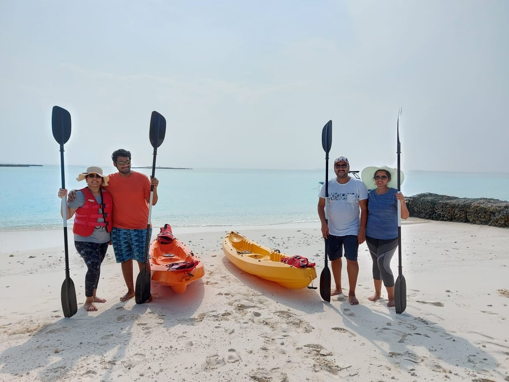 Group of people on their family vacation to Maldives