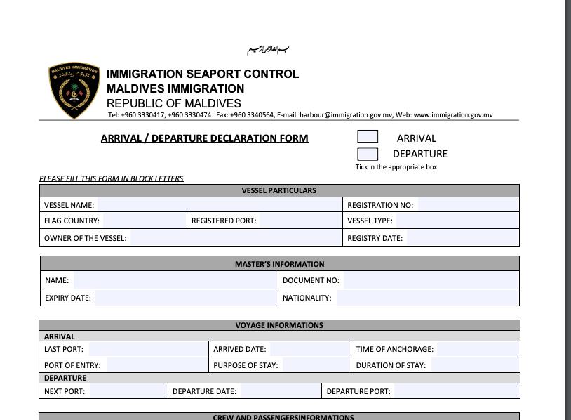 Maldives Visa Declaration Form