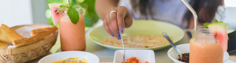 A girl having food