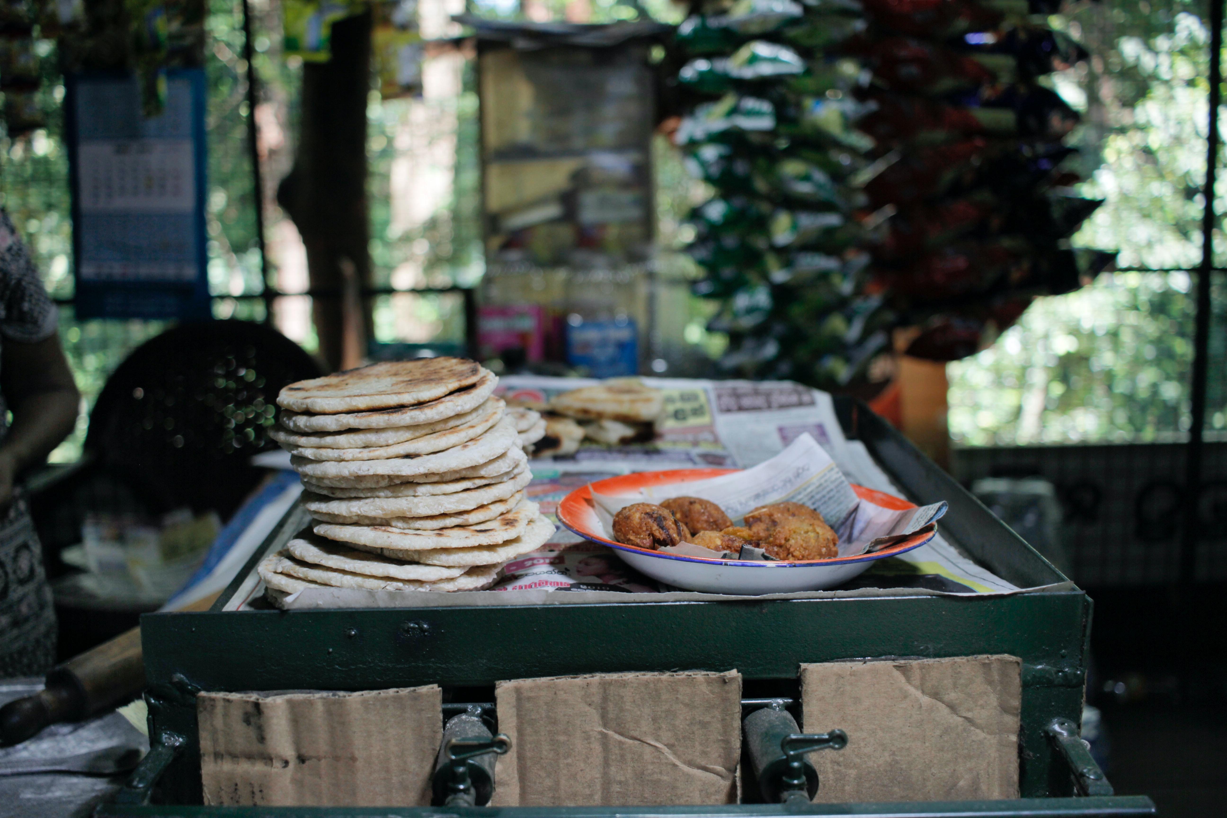Food in a road side shop in Sri Lanka