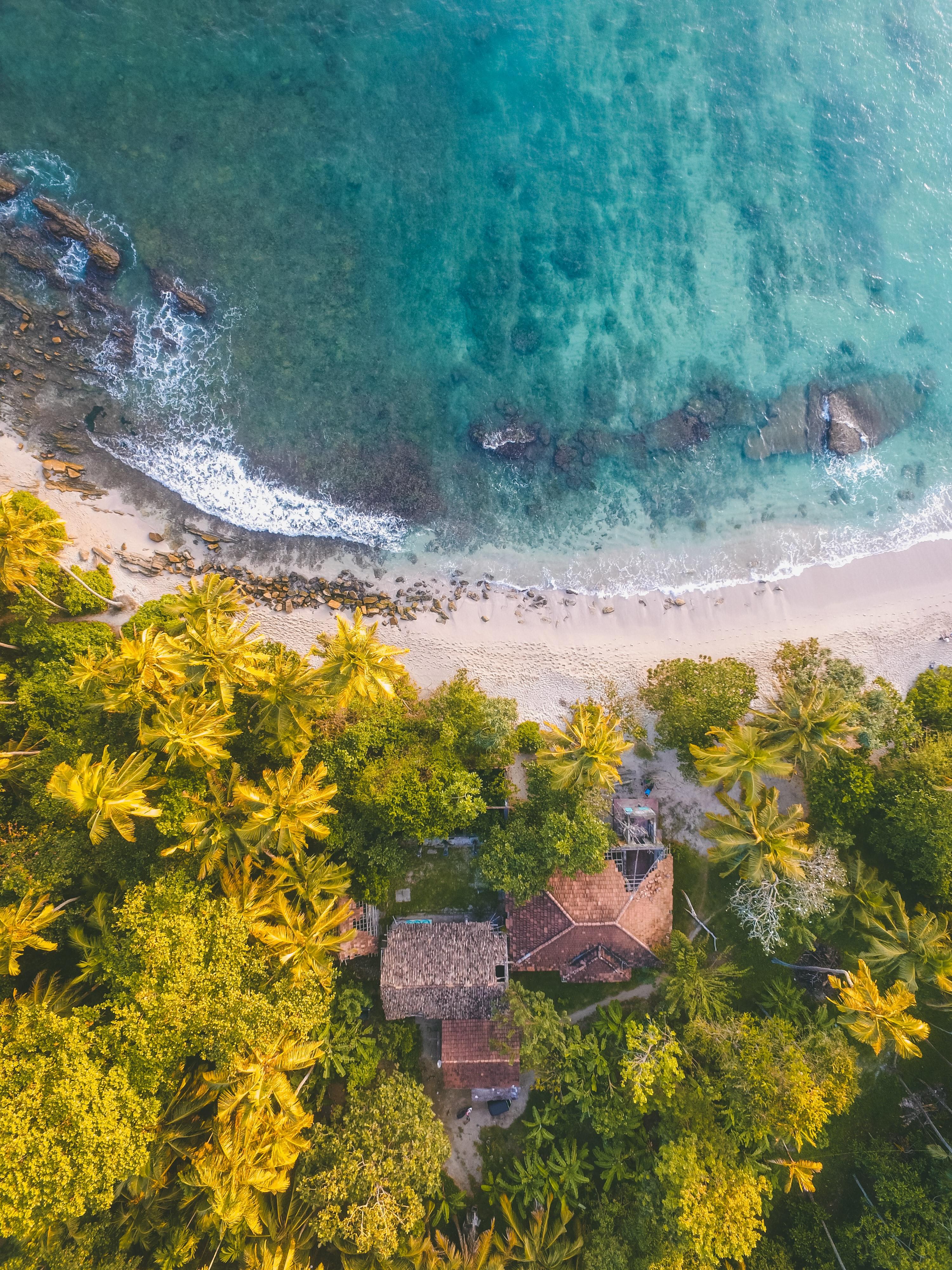 Aerial view of Sri Lankan coast
