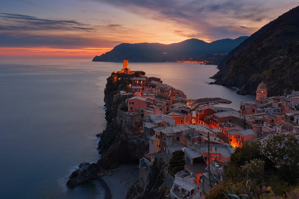 Night view of Vernazza in Italy