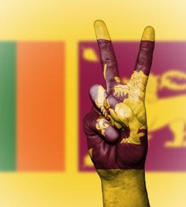 Sri Lankan flag on hand