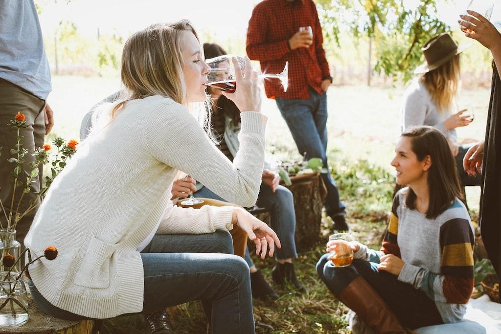 Friends enjoying at-home Wine tasting