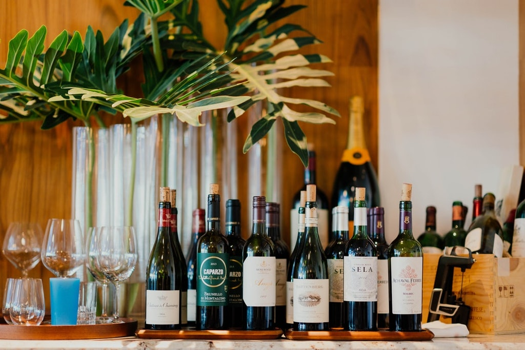 Different type of wines at table