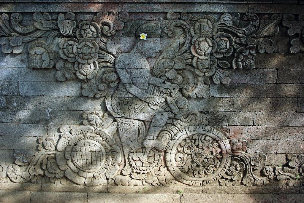 indonesia, bali temple, bas relief